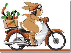 バイクにのって走っているおばさん