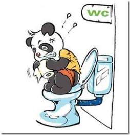 便秘で苦しむパンダの画像