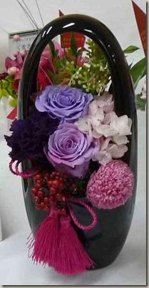 和風紫のバラアレンジメント