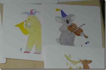 くまがほるんとバイオリンを弾いている所
