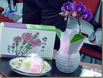 手のひらサイズのミニ胡蝶蘭と吉野の葛餅