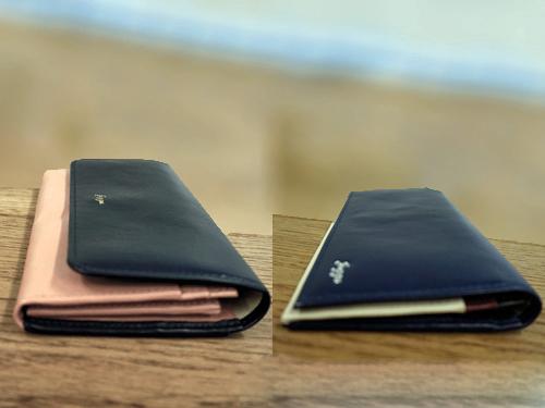 バイカラー財布をレディスとメンズで厚みを比較
