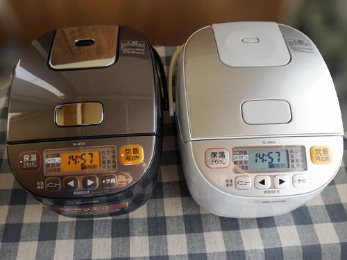 価格の違う炊飯器2つ