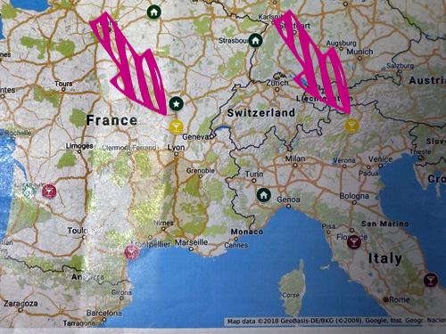 イタリア最北端の白ワインと同じ緯度のフランスワインの地図