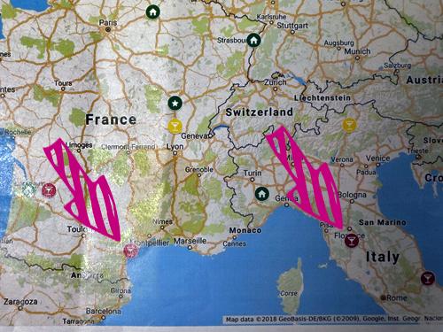 イタリアの白ワインと同じ緯度のフランスワインの地図