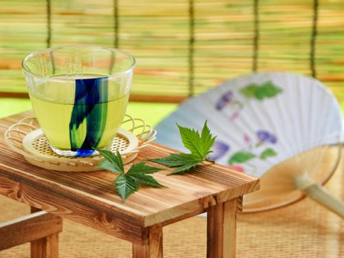 うちわとすだれと緑茶