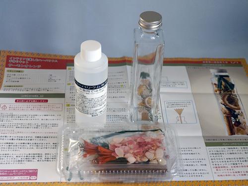 花材、オイル、瓶、説明書