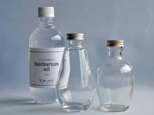 ハーバリウムのドロップ型、フルーツ型のボトル