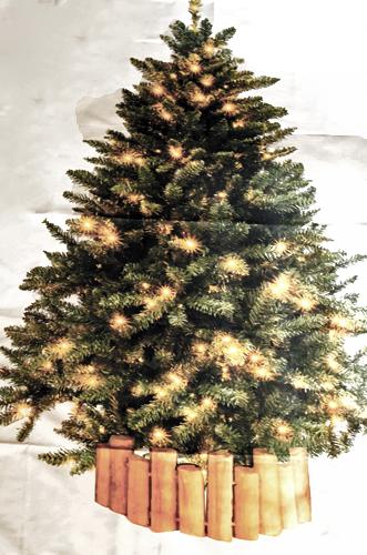 飾り付けの描かれたクリスマスツリータペストリー